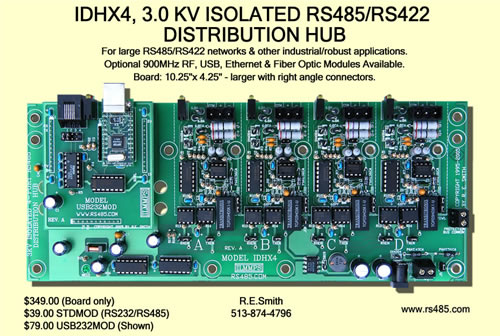 IDHX4, 3.0 Kv Isolated RS485/RS422 Distribution Hub