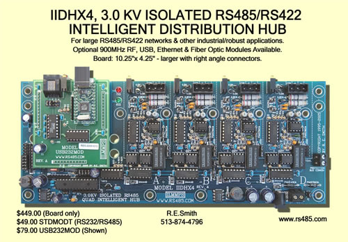 IIDHX4, 3.0 Kv Isolated RS485/RS422 Intelligent Distribution Hub